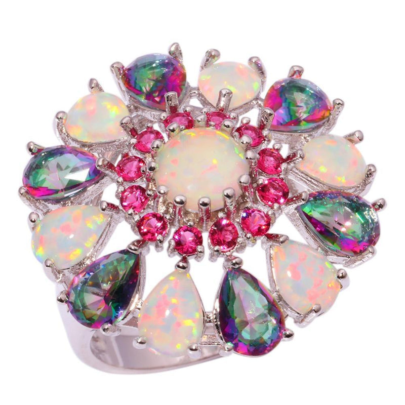 White Fire Opal Mystic Topaz Flower Ring - atperry's healing crystals