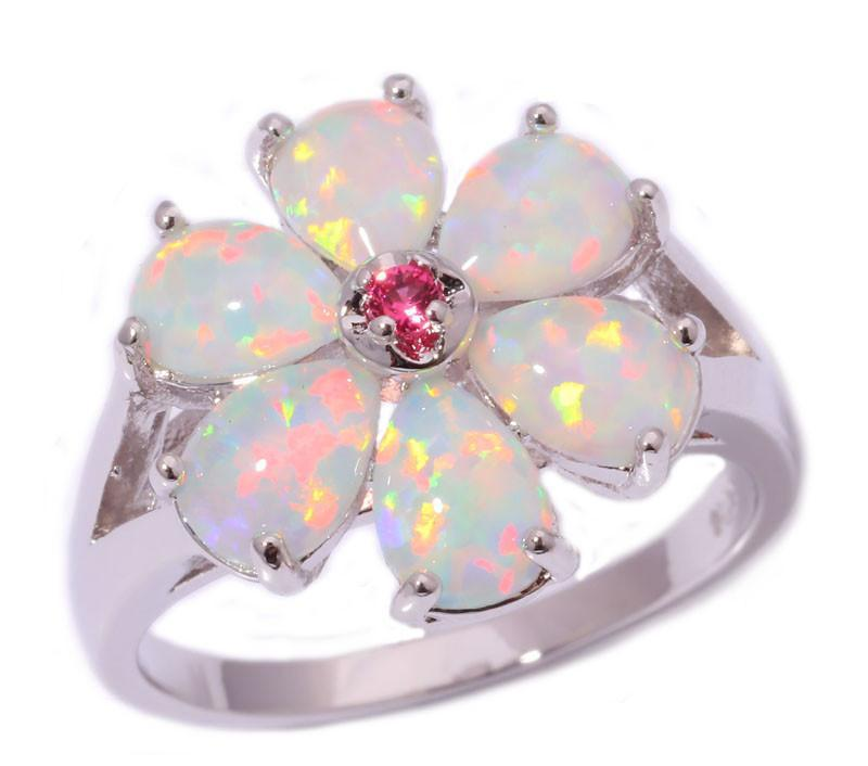 White Fire Opal Flower Silver Ring - atperry's healing crystals