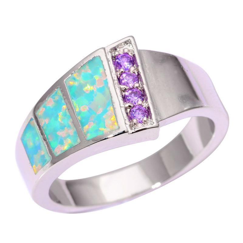Green Fire Opal Amethyst Silver Ring - atperry's healing crystals