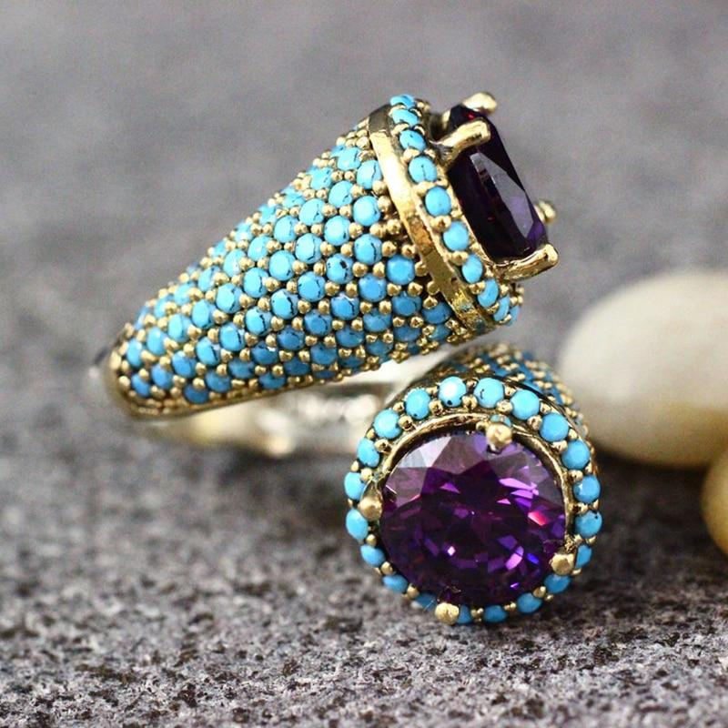 Gothic Turquoise Beaded Amethyst Gold Ring