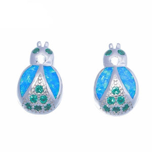 Lovely Cute Bug Blue Fire Opal Jewelry Stud EarringsEarrings