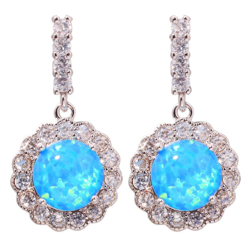 Cubic Zirconia Drop Blue Fire Opal Jewelry for Women Wedding Stud EarringsEarrings