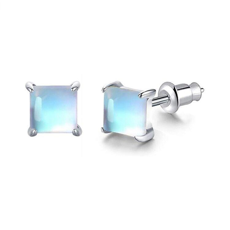 White Gold Hypoallergenic Moonstone Stud EarringsEarrings