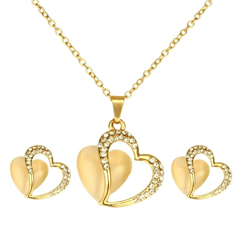 Natural Yellow Opal Love Heart Necklace Earring Jewelry SetJewelry Set