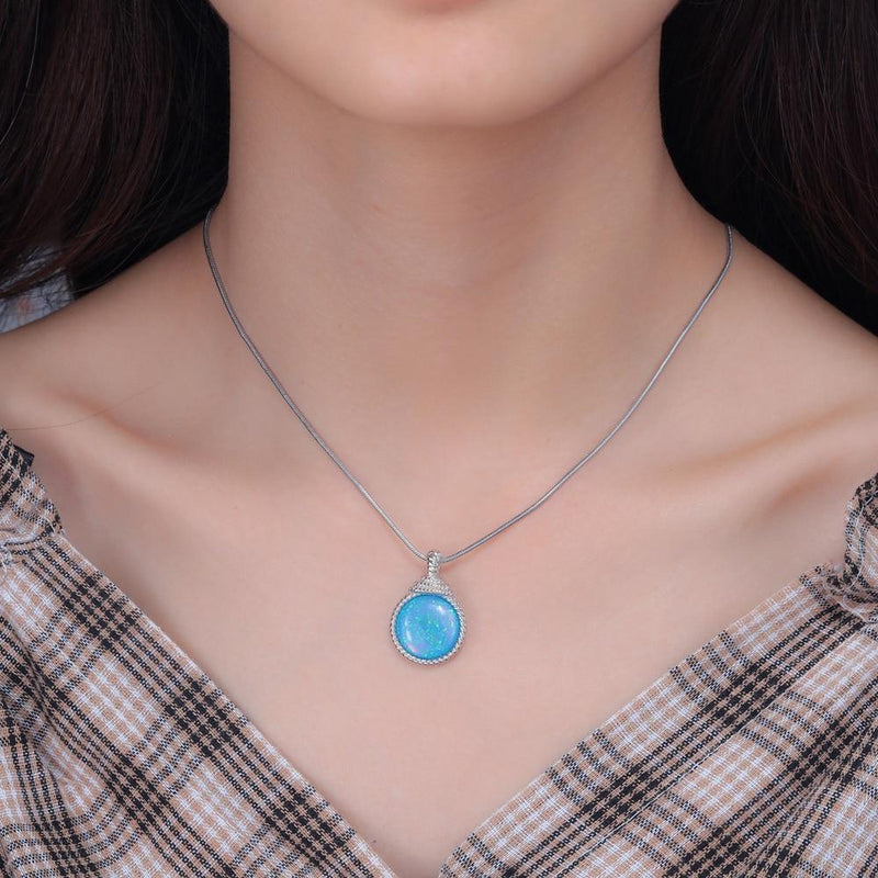 Dazzling Huge Blue Fire Opal Round NecklaceNecklace