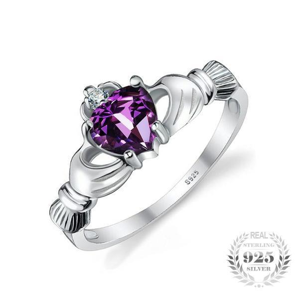 Natural Amethyst Heart Ring - 925 Sterling Silver - AtPerry's Healing Crystals™