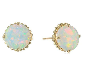 Dazzling White Fire Opal Gold Stud Earring
