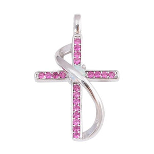 White Fire Opal Pink Topaz Cross NecklacePendant / Necklace