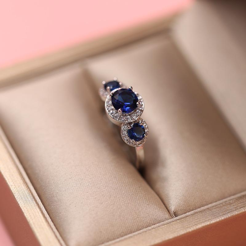 Magnificent Triad Sapphire Ring - 925 Sterling SilverRing