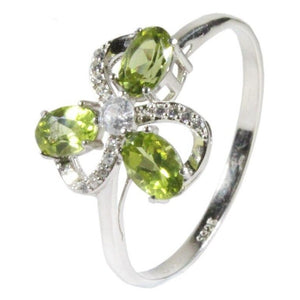 3 Stones Natural Peridot Ring - 925 Sterling SilverRing13