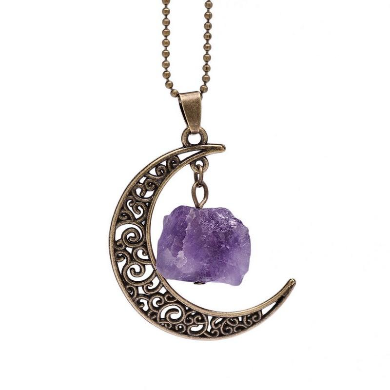 Natural Healing Crystal Moon Pendant NecklaceNecklace