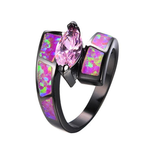 Pink Fire Opal Pink Topaz Black Ring