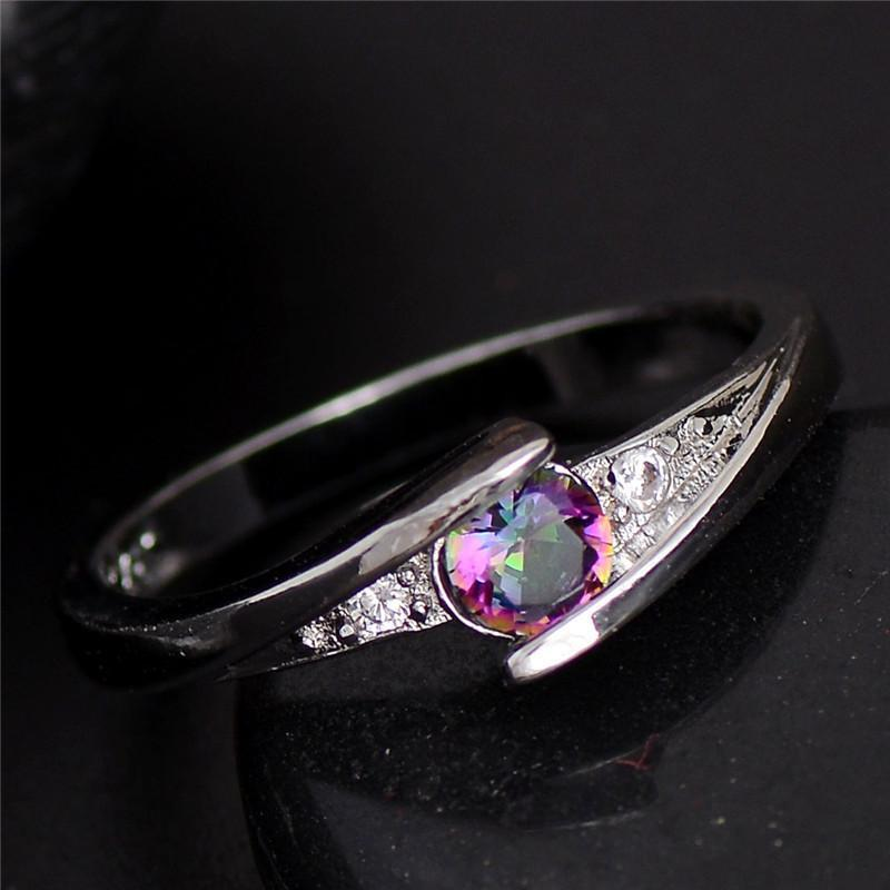 Elegant Rainbow Mystic Topaz Silver Ring - AtPerry's Healing Crystals™
