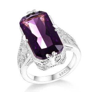 Stunning Big Amethyst Ring - 925 Sterling SilverRing10