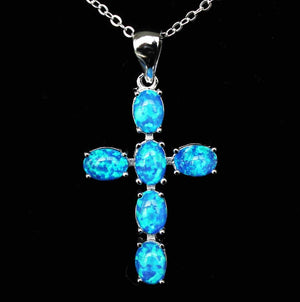 White & Blue Fire Opal Cross PendantNecklaceBlue