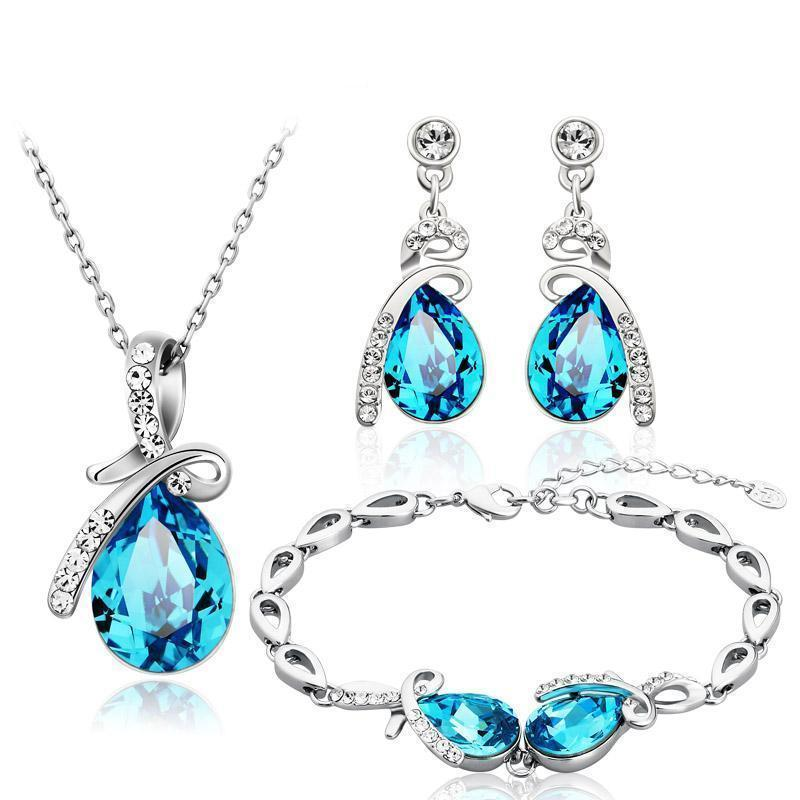 Sapphire Jewelry Necklace, Earrings & Bracelet Set - atperry's healing crystals