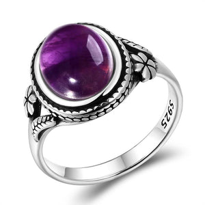 Natural Amethyst Oval Ring - 925 Sterling SilverRing