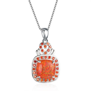 Orange Fire Opal Garnet Promise Necklace - 925 Sterling SilverNecklace
