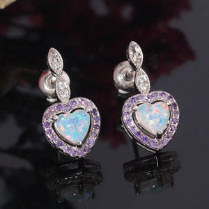 White Fire Opal Amethyst Heart Drop EarringsEarrings