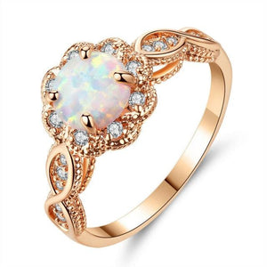Lovely White Fire Opal Rose Gold RingRing9