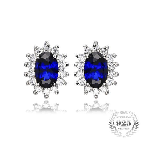 Blue Sapphire Earrings - 925 Sterling Silver - AtPerry's Healing Crystals™