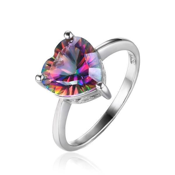Rainbow Heart Topaz Ring   925 Sterling Silver   matans store.myshopify.com