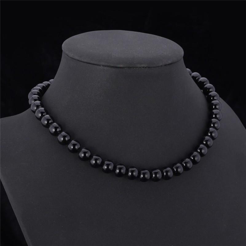 Resizable Black/White Pearl Choker Necklace