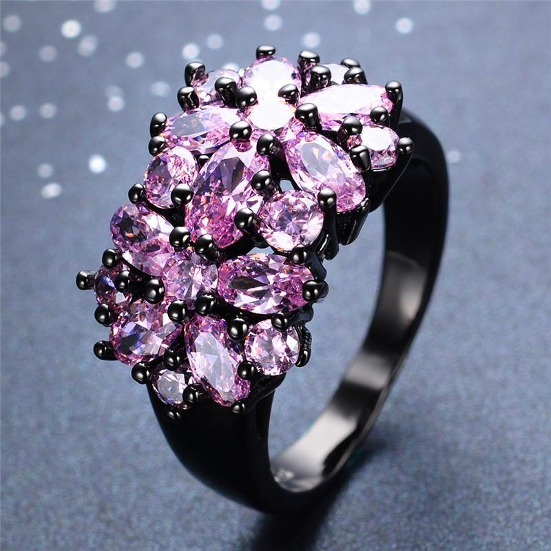 Pink Sapphire Black Gold Ring   matans store.myshopify.com