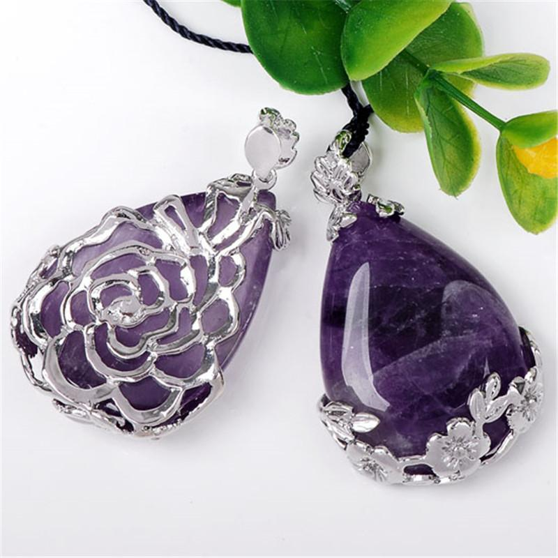 Amethyst Teardrop Pendant or Amethyst Teardrop NecklaceNecklace