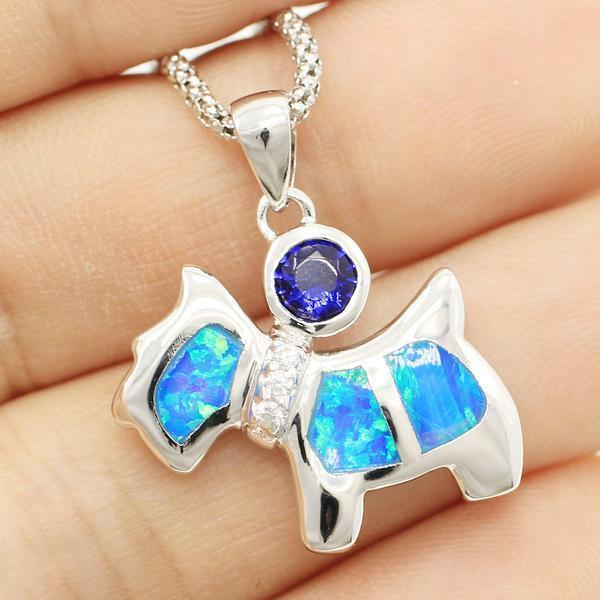 Beautiful Dog Blue Fire Opal Necklace- 925 Sterling Silver - AtPerry's Healing Crystals™