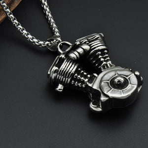 Engine Motorcycle Necklace - Titanium Stainless Steel - atperry's healing crystals