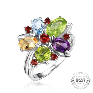 Natural Multi Flower Ring - 925 Sterling Silver