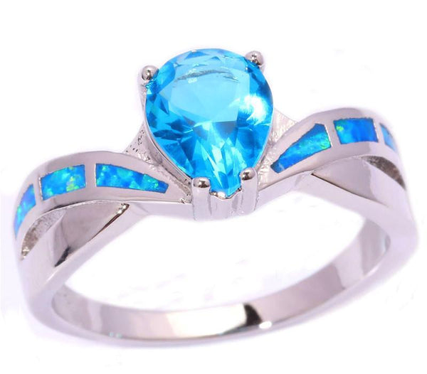Blue Opal Ring With Aquamarine Stone   matans store.myshopify.com