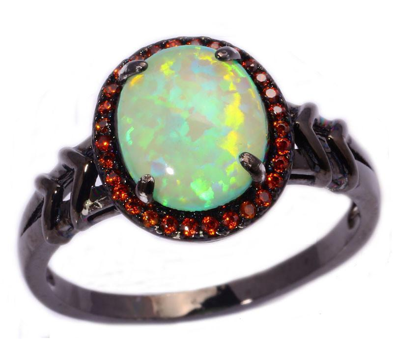 Green Fire Opal & Garnet Black Gold Ring - AtPerry's Healing Crystals™