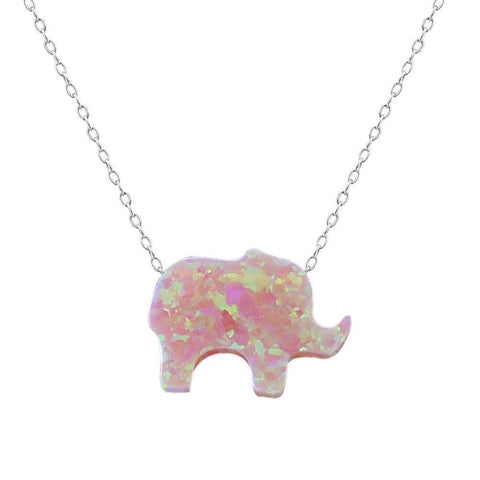 Pink Fire Opal Elephant Pendant - AtPerry's Healing Crystals™