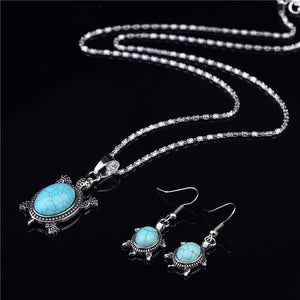 Elegant Turquoise Turtle Silver Set - Necklace & Earrings - AtPerry's Healing Crystals™