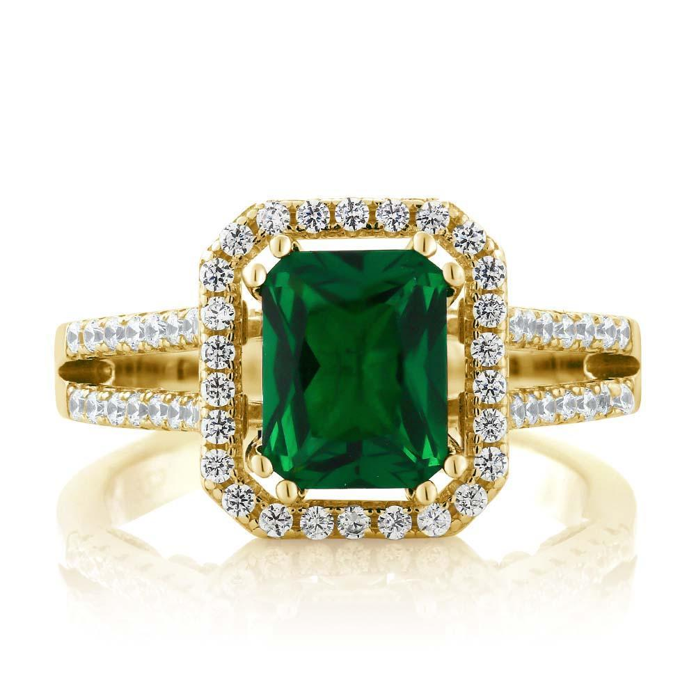 Emerald 18K Gold Plated Silver Ring - AtPerry's Healing Crystals™