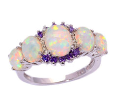 White Fire Opal Amethyst Silver Ring