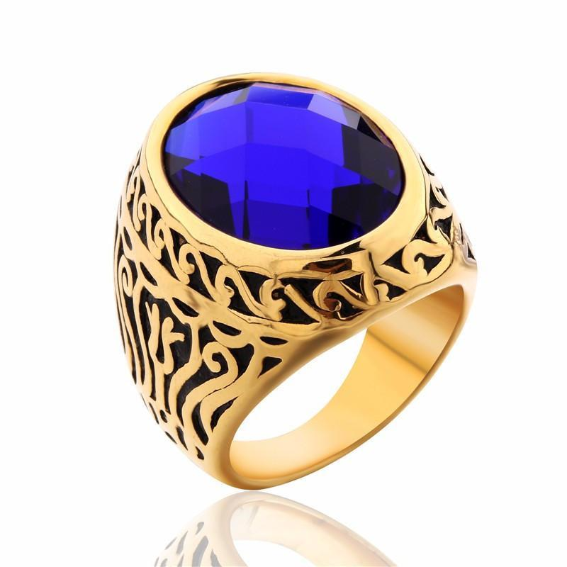 Floral Sapphire Gold Ring - For Men - AtPerry's Healing Crystals™