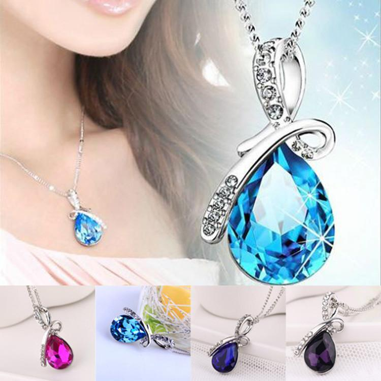 Angel Teardrop Crystal Pendant White Gold Necklace - AtPerry's Healing Crystals™