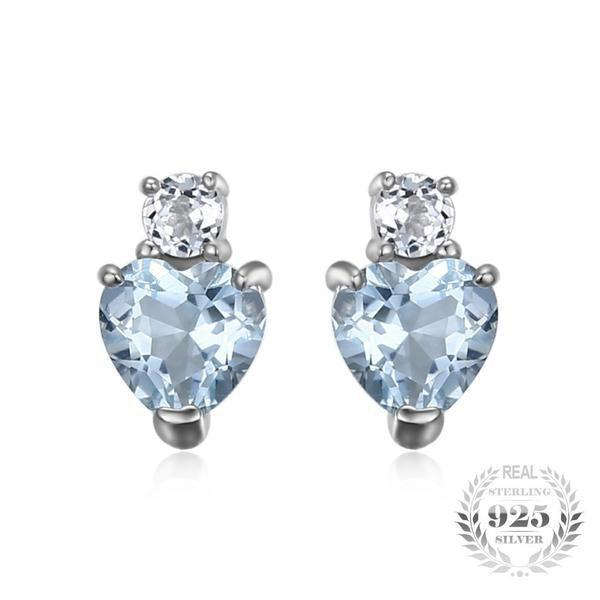Aquamarine Heart White Topaz Earrings