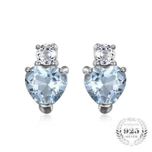 Aquamarine Heart White Topaz Earrings - AtPerry's Healing Crystals™