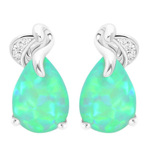 Green Fire Opal Silver Earrings