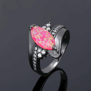 Tear Fire Opal Black Gold Ring   matans store.myshopify.com