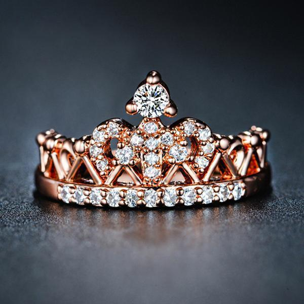 Princess Crown Rose Gold Ring - atperry's healing crystals