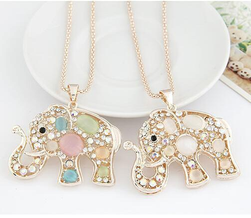 Lucky Opal Elephant Long Chain Maxi Necklace
