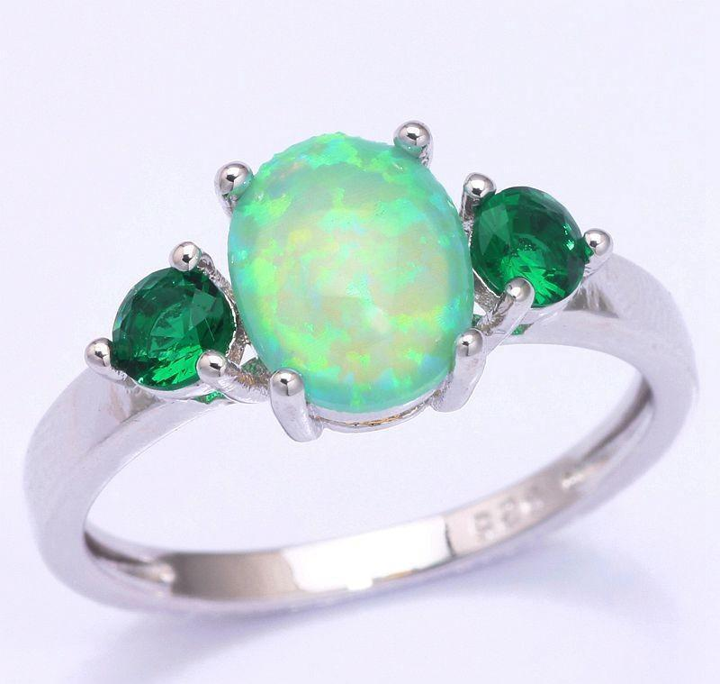 Fire Opal & Emerald 925 Silver Ring - AtPerrys Healing Crystals - 1