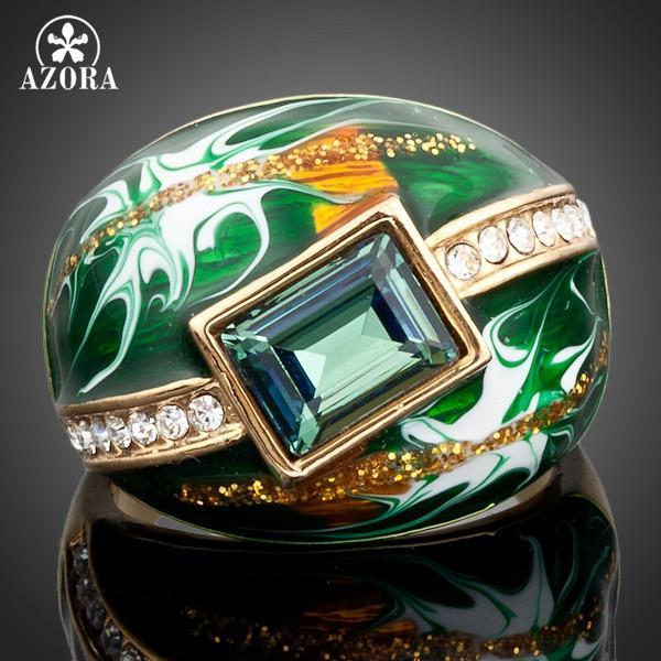 Gold Green Austrian Crystal Oil Pattern Ring