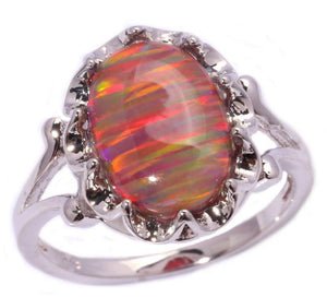 Orange Fire Opal Silver Plated Ring - AtPerry's Healing Crystals™