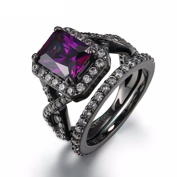 Luxurious Black Gun Plated Purple Amethyst Crystal Fashionable Ring - AtPerry's Healing Crystals™